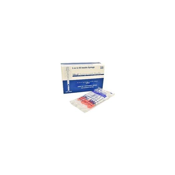 "Seringues IDEAL 0.5 ml Insuline U-40 - 29g X 1 / 2"" bte / 100"