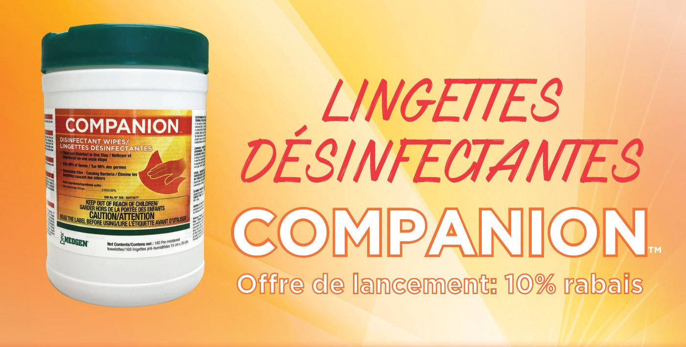 10% Rabais lingettes désinfectants companion